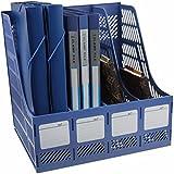 Skyfun Multipurpose 4 Sections Plastic Storage File Paper Document Magazine Divider Literature Tray Sorter Collection Rack Holder Organizer- Multi Color