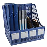 #9: Skyfun Multipurpose 4 Sections Plastic Storage Section Divider File Paper Document Magazine Literature Tray Sorter Collection Rack Holder Wall Mounted FC Size Table Top Organizer Book Shelf XL- Multi