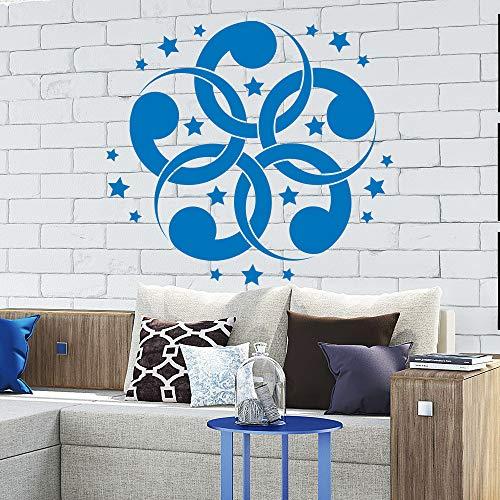zhuziji Blumenmuster Wandaufkleber Vinyl r Wandtattoo Sterne Wohnzimmer Kunstwandhauptdekor Yoga Studio Aufkleber Moderne D 46x42 cm
