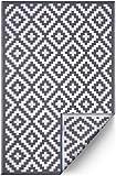 FH Home Fußmatte aus recyceltem Kunststoff, wendbar, Wetter- und UV-beständig, Azteken-Muster, Grau/Weiß, 91 x 152 cm