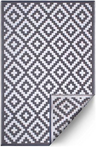 FH Home Indoor/Outdoor recyceltem Kunststoff Bodenmatte/Teppich - reversibel - Wetter und UV-beständig - Aztec - Grey/White (120 cm x 180 cm)