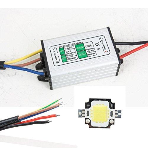 sourcingmap® 10W Wasserdicht Led Vorschaltgerät + 10W Reines Weiß LED SMD Chip Licht (Niederspannungs-flutlicht)
