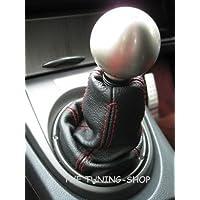 Ghetta in pelle per cambio, adatto per Honda Civic Type R Fn2 2007-2012, colore: nero, cuciture colore rosso
