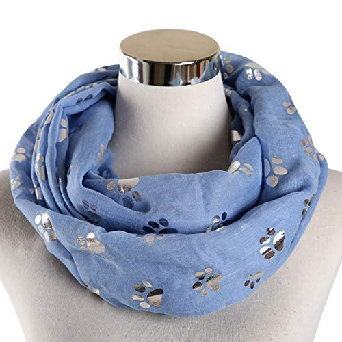 LMO New  Blue Grey White Color Foil Sliver Cat Dog Paw Scarf Snood Ring Infinity Scarf Women Ladies,Schal -