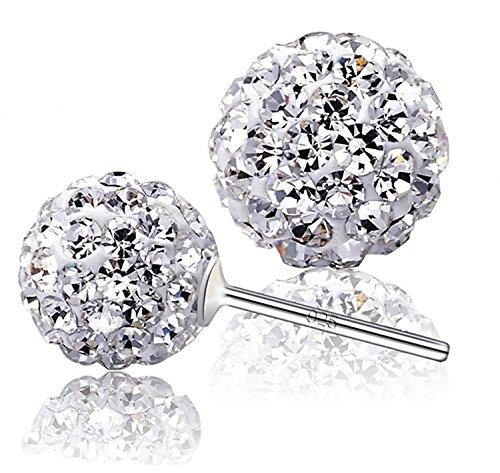 925Sterling Silber Kristalle von Swarovski Rund Weiß Disco Kugel Ohrstecker 8mm für Frauen und Mädchen (Kugeln Kristall-box)