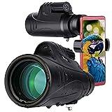 TELMU 10X42 Telescopio Monocular para Movil BAK4 Prisma FMC Impermeable y Antivaho Monoculares de Largo Alcance para avistamiento de Aves >Caza >Camping (Incluye el Suporte de Movil)