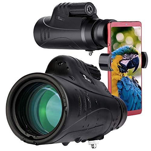 TELMU 10X42 Telescopio Monocular para Movil BAK4 Prisma FMC Impermeable y Antivaho Monoculares de Largo...