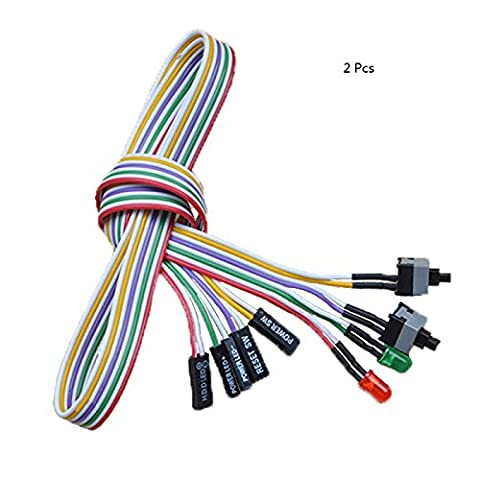 2Pcs 4 en 1 PC Puissance Interrupteur Reset Disque dur Cable LED Fil Kit de montage pour ordinateur