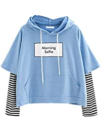 Damen Hoodie, VEMOW Frauen Brief gedruckt Sweatshirt Langarm Nähen Bluse  Tops 5ad662797e