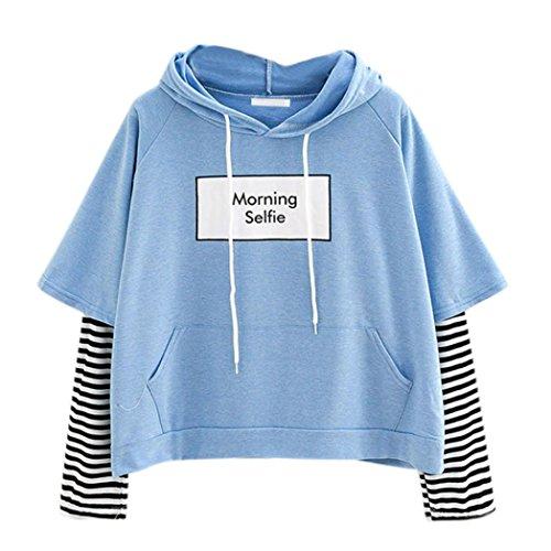 Damen Hoodie, VEMOW Frauen Brief gedruckt Sweatshirt Langarm Nähen Bluse Tops Sleeve Henley Hoodie -