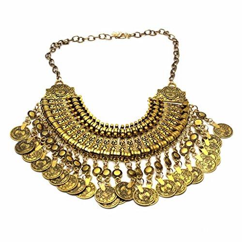 Preisvergleich Produktbild HuntGold Böhmische Antalya Zigeuner Fest Türkische Münze Halsband Opulente Halskette (Golden)