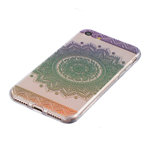 Coque iPhone 5 5s Housse étui-Case Transparent Liquid Crystal Mandala en TPU Silicone Clair,Protection Ultra Mince Premium,Coque Prime pour iPhone 5 5s-Vert Vert
