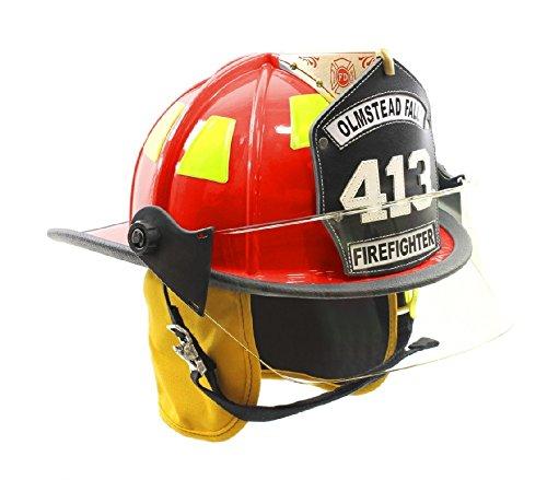 MSA Sicherheit 1010FSR Cairns Fire Helm mit 10,2cm Tuffshield, Standard Flanell Liner, Nomex earlap, Kinnriemen mit Schnellverschluss, Postman Slide, 15,2cm siebdruckverfahren Eagle und Lime/Gelb Reflexite, rot