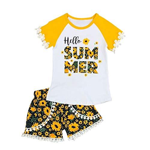 y Kinder Mädchen Kurzärmliges Rundhals Sonnenblumen Print Tops + Shorts Sommer Casual Outfits Set ()