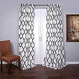 Lambrequin Casa Flocked Curtain Panel, 1...