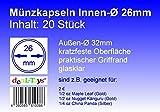 20 Münzkapseln 26mm, Geeignet für 2 Euro-Münzen, 1/2 oz Maple Leaf (Gold), 1/2 oz Nugget Känguru (Gold)
