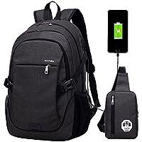 Super Modern - Mochila escolar unisex de nailon con puerto de carga USB, preparado para portátil. Moderna mochila deportiva. Set de dos: una mochila grande y un bolso al hombro., hombre, negro, 1 Large backpack+ 1 small shoulder bag