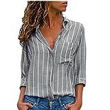 ITISME FRAUEN BLUSE Damen Casual Langarm FarbblockFrauen Langarm-T-Shirt mit V-Ausschnitt (XX-groß, Grau9)