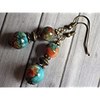 Drop earrings in vintage style in natural white jade beads tinted blue, brown and orange