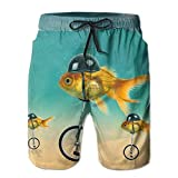 Funny Fish on The Bike Mens Fashion Surf Board Beach Home Shorts Swim-Trunks Quick Dry with Pocket