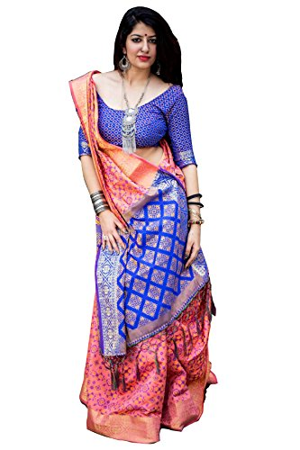 Rozdeal Pink And Blue Colored Silk Patola Saree
