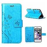 MOONCASE iPhone 6S Plus Bookstyle Étui Fleur Housse en Cuir Case à rabat pour iPhone 6 Plus / 6S Plus 5.5-pouce Coque de protection Portefeuille TPU Case Bleu