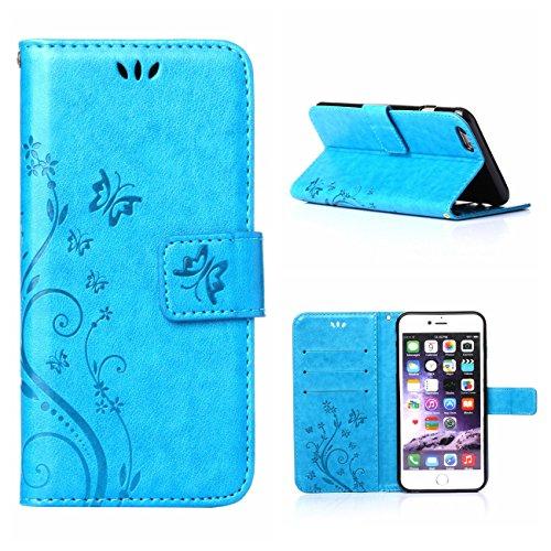 """MOONCASE iPhone 6S Plus Hülle Blume Premium PU Leder Schutzhülle für iPhone 6 Plus / 6S Plus 5.5"""" Bookstyle Tasche Schale TPU Case mit Standfunktion Rosa Blau"""