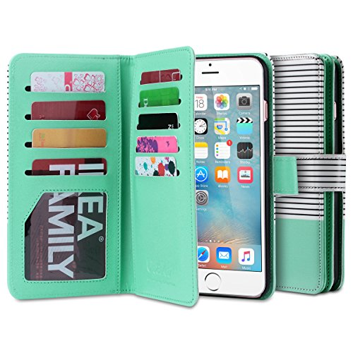 iPhone 6s Hülle, ULAK iPhone 6 hülle Brieftasche Case Luxus Premium Synthetik Leder Ständer Brieftasche Case 9 Card Slots mit Handschlaufe für iPhone 6 6s (4,7 Zoll) (Rosé Gold) Minimal Mint Stripes