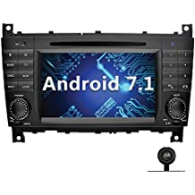 YINUO 7 Pulgadas 2 Din Android 7.1.1 Nougat 2GB RAM Quad Core Pantalla Táctil Estéreo Reproductor De DVD GPS Navegador Multimedia Radio De Coche HD 1024*600 Para Mercedes-Benz C-Class W203 (2004-2007)/ Benz CLK W209(2004-2005) Soporte DAB/ Control Del Volante Bluetooth/ AV-IN/ 1080p (Con Cámara Trasera 1)