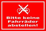 Aufkleber – Bitte keine Fahrräder abstellen - 15x10cm – S00050-049-D +++ in 20 Varianten erhältlich