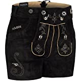 PAULGOS Damen Trachten Lederhose + Träger, Echtes Leder, Sexy Kurz, Hotpants in 5 Farben Gr. 34-50 H1, Farbe:Schwarz, Damen Größe:42