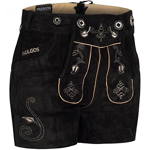 PAULGOS Damen Trachten Lederhose + Träger, Echtes Leder, Sexy Kurz, Hotpants in 5 Farben Gr. 34-50 H1, Farbe:Schwarz, Damen Größe:40