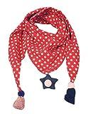 Los niños más gruesos de invierno abrigan bufandas triangulares, puntos rojos y de olas