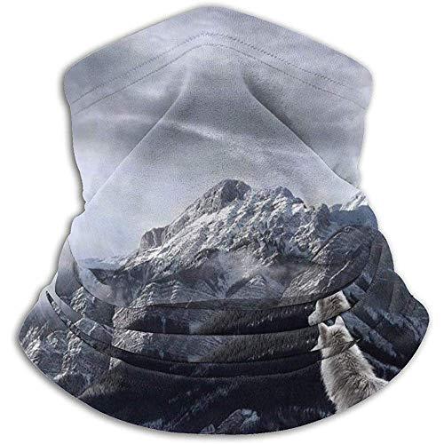 Archiba Lupo Look Lontano Montagne Scaldacollo da Neve Scaldacollo Scaldacollo in Poliestere Ultra Morbido Copricapo da Collo