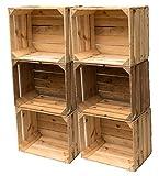 Gebrauchte Holzkisten im 6er Set: Originale Vintage Obstkisten zum Möbelbau oder als Dekoration, sehr stabile Apfelkisten, geprüft und gereinigt, auch als Aufbewahrungsbox od. Tisch 50x40x30 cm