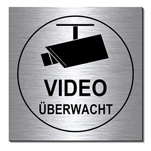 Video-Videoüberwacht-Schild 100 x 100 x 3 mm-Aluminium Edelstahloptik silber mattgebürstet-selbstklebend Warnschild-Videoschild-Hinweisschild 1910-71