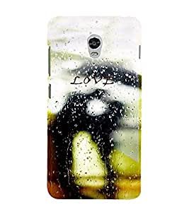 PrintVisa Romantic Love Couple Rain 3D Hard Polycarbonate Designer Back Case Cover for Lenovo Vibe P1M