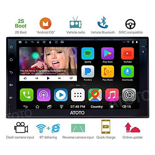 ATOTO A6 2DIN Android Car Navigation Stereo with Dual Bluetooth & 2A Charge - Premium A61711P 1G+32G Car Entertainment Multimedia Radio,WiFi/BT Tethering internet,support 256G SD &more