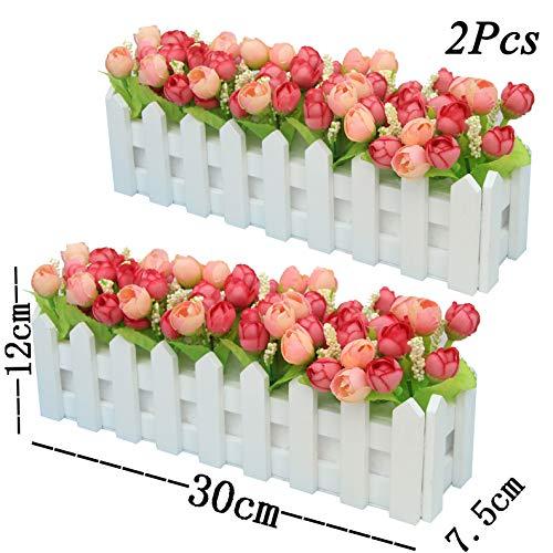 XuanMax 2pcs Roses Kunstblumen mit Zaun Kunstpflanzen mit Topf Künstliche Blumen im Pot Künstliche Pflanzen Gefälschte Topfpflanzen Bonsai Dekoartikel Ornamente 30 * 7.5 * 12cm - Rosa