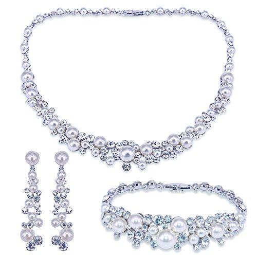 BiBeary Damen Kristallen künstliche Perle elegant Braut Schmuck Set Halskette Kette Ohrringe Armband Armkette klar Silber-Ton