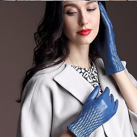 ZHGI Señoras guantes de cuero y felpa toque invernal acolchado cálido Badanas guantes,XL,azul