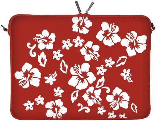 Digittrade LS107-15 Red Flower Designer Laptoptasche 15,6 Zoll (39,1 cm) Neopren Laptop-Hülle Sleeve Tasche Schutzhülle Cover Case Bag rot-weiß
