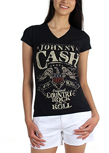 Johnny Cash-Country-Maglietta da donna, motivo: Rock, Black, Large