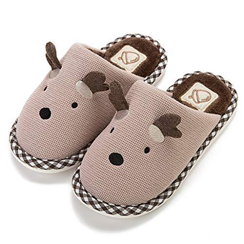 YU'TING ☀‿☀ Pantofole da Casa Bimba, Caldo Peluche Casa Pattini Unisex Inverno Autunno Antiscivolo Morbido Pantofole Cartoon 3D Antlers Scarpe Animato Slippers