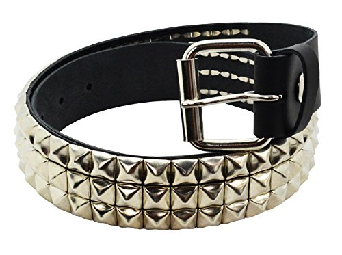 Bullet 69 3 Row Silver Pyramid Stud Unisex Leather Belt Black L