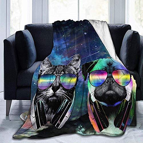 Dj Katze Mit Kopfhörer Haustier Tier Dj Mops Hund-Ultra Weiche Micro Fleece Decke-Warme Flauschige Leichte Decke Für Outdoor Indoor Camping,102X127 cm -