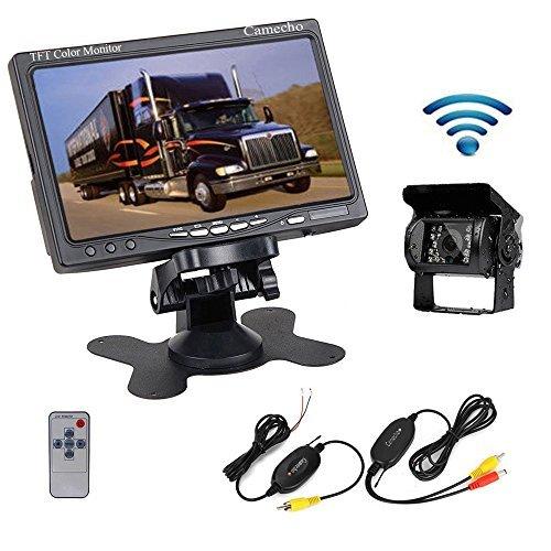Camecho® Kit de Surveillance Vidéo Moniteur LCD TFT 17,8 cm Caméra de Recul Vision Nocturne Infrarouge Étanche Arrière Sans Fil