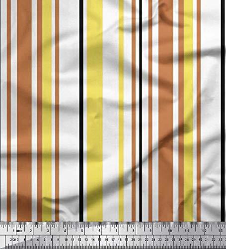 Soimoi Gelb schwere Leinwand Stoff Bunte vertikale Streifen Stoff drucken Meter 58 Zoll breit -