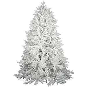 Weißer künstlicher Weihnachtsbaum 180cm DeLuxe in Premium Spritzguss Qualität, weiße Nordmanntanne, Tannenbaum weiß mit PE Kunststoff Nadeln, Nordmannstanne Christbaum im schneeweißen Design