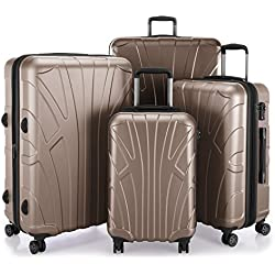 Suitline - Set of 4 Hard-side Luggages Trolley Hardside Hard Shell Suitcase Expandable, TSA, (S, M, L & XL), Gold